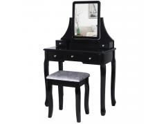 BEWISHOME Vanity Set with Mirror & Cushioned Stool Dressing Table Vanity Makeup Table Desk 5 Drawers 2 Dividers Movable Organizers Black FST01H